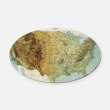 Cute United states map Oval Car Magnet