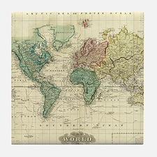 Unique Vintage map Tile Coaster