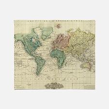 Cute Antique world map Throw Blanket