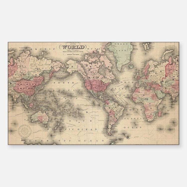 Cute Antique maps Sticker (Rectangle)