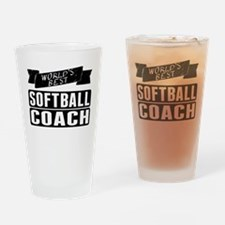 Worlds Best Softball Coach Drinking Glass