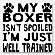 "My Boxer Isnt Spoiled Square Car Magnet 3"" x 3"""