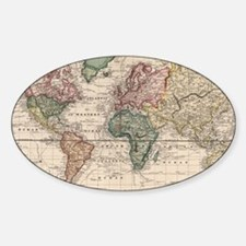 Funny World map Sticker (Oval)