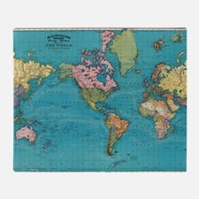 Funny World maps Throw Blanket
