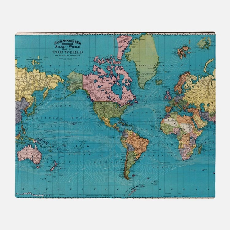 Cute Maps and places Throw Blanket