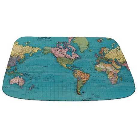 Cute World Map Bathmat