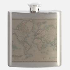 Unique Antique world map Flask