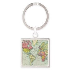 Cute Geography Square Keychain