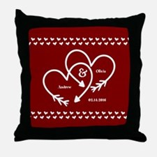 Personalized Names Wedding Gift Red a Throw Pillow