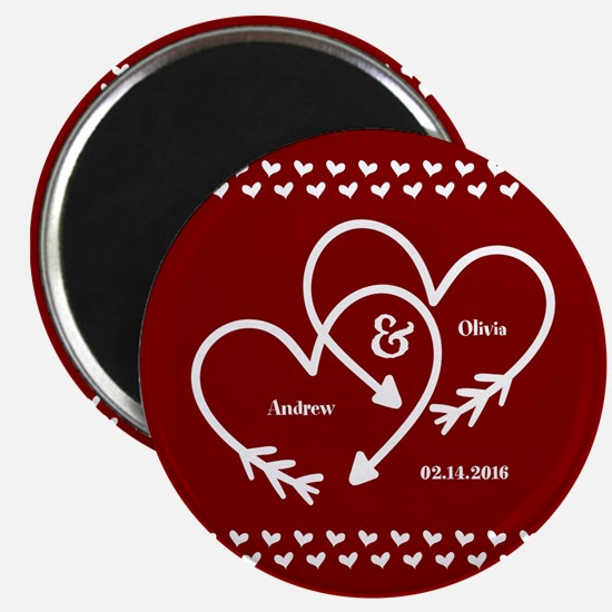 Personalized Names Wedding Gift Red and Whi Magnet