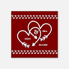 "Personalized Names Wedding Square Sticker 3"" x 3"""