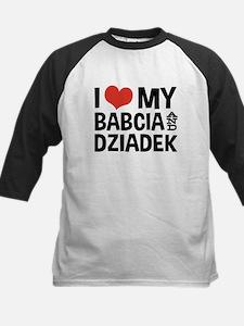 I Love My Babcia and Dziadek Kids Baseball Jersey