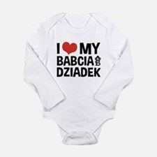 I Love My Babcia and D Long Sleeve Infant Bodysuit