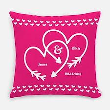 Stylish Wedding Monogram Pink Hear Everyday Pillow