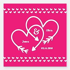 "Stylish Wedding Monogram Square Car Magnet 3"" x 3"""