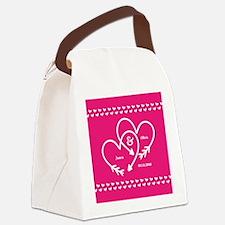 Stylish Wedding Monogram Pink Hea Canvas Lunch Bag