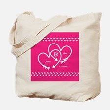 Stylish Wedding Monogram Pink Hearts Tote Bag
