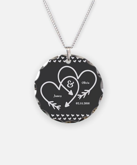 Mr. and Mrs. Wedding Customi Necklace Circle Charm