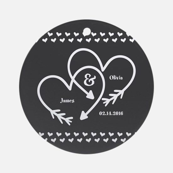 Mr. and Mrs. Wedding Customizable G Round Ornament