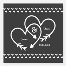 """Mr. and Mrs. Wedding Cus Square Car Magnet 3"""" x 3"""""""
