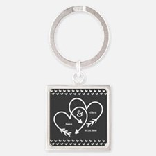 Mr. and Mrs. Wedding Customizable Square Keychain