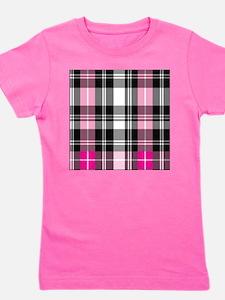 pink & black plaid Girl's Tee