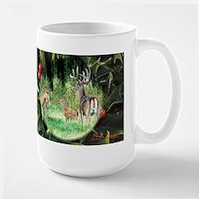 Whitetail Deer Family in Holly Mug