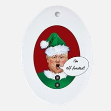 Funny Christmas Donald Trump is Elf Oval Ornament