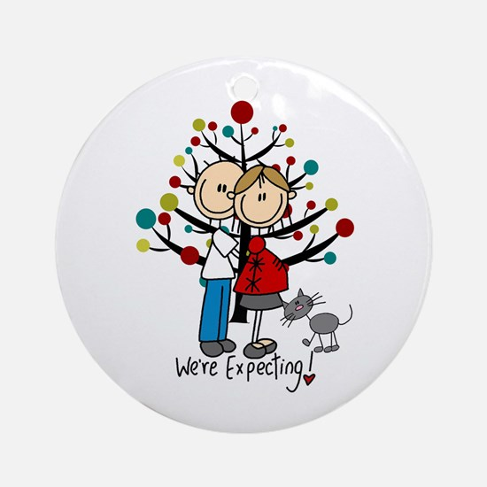 Christmas Expectant Couple With Cat Round Ornament
