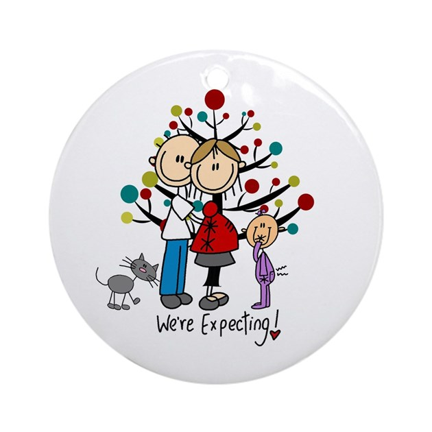 Christmas Stick Figure Family Round Ornament by my_stick_figure