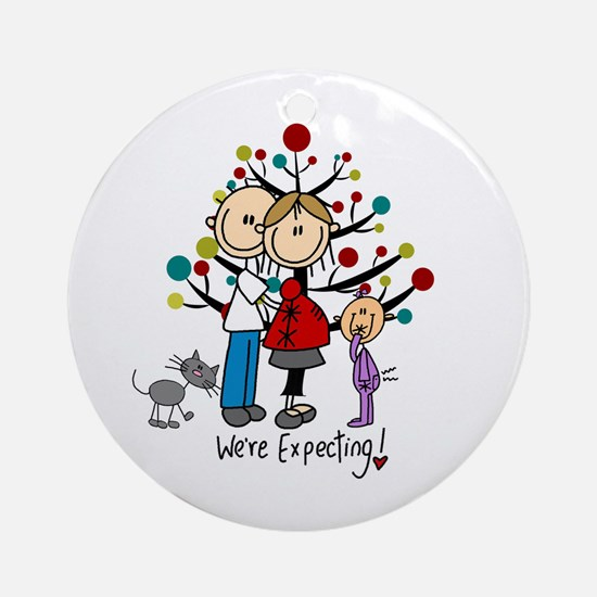Christmas Stick Figure Family Round Ornament