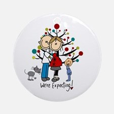 Christmas Expectant Couple Boy Cat Round Ornament