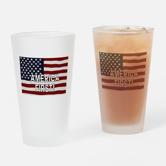 AMERICA FIRST! USA flag Drinking Glass