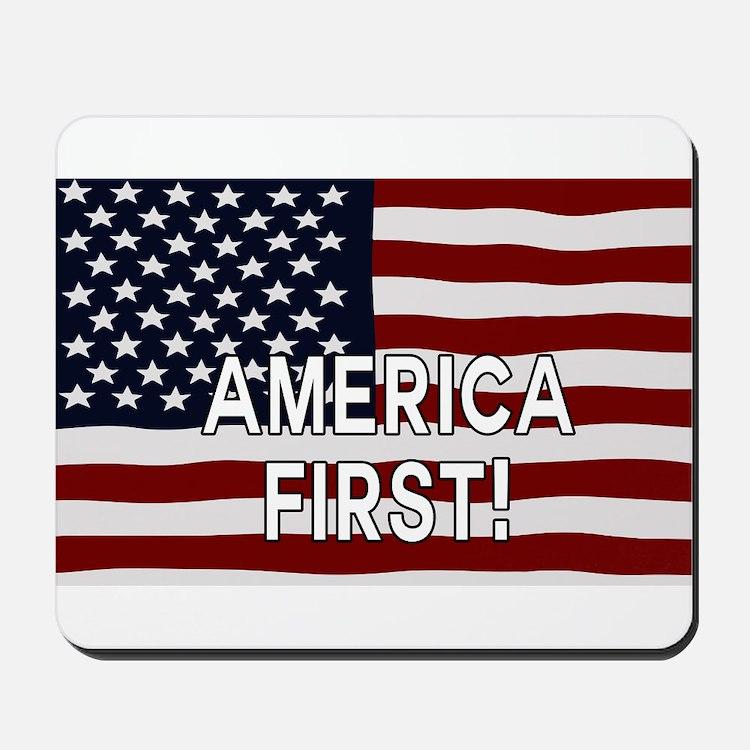 AMERICA FIRST! USA flag Mousepad