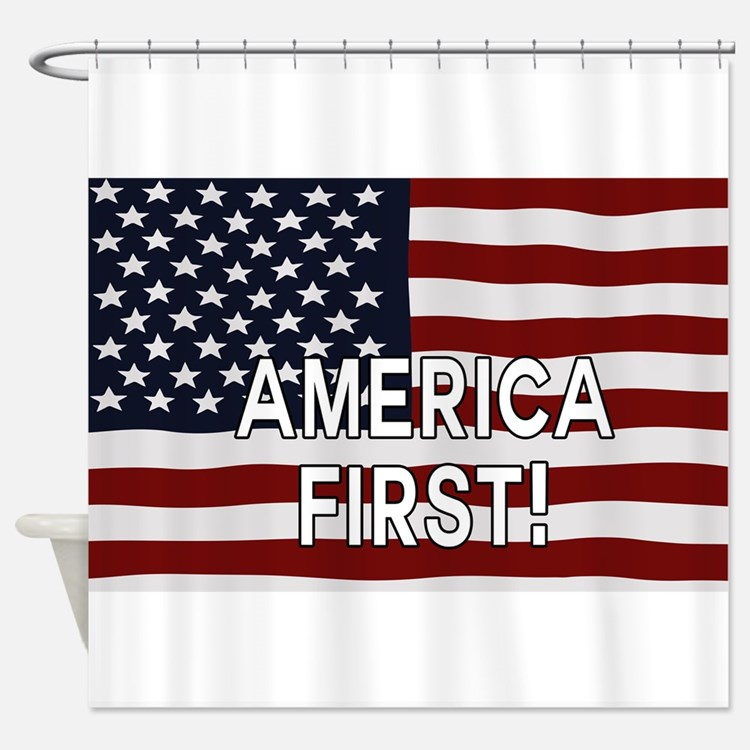 AMERICA FIRST! USA flag Shower Curtain