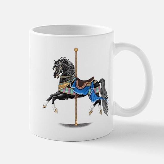 Black Carousel Horse Mugs