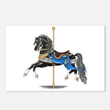 Black Carousel Horse Postcards (Package of 8)