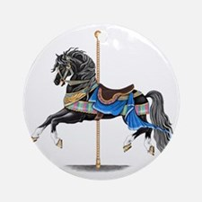 Black Carousel Horse Round Ornament