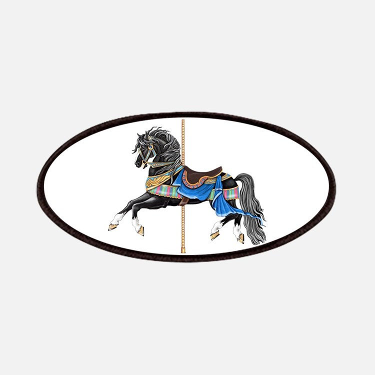 Black Carousel Horse Patch