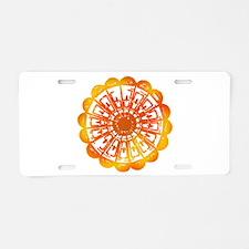 Orange Mandala Aluminum License Plate