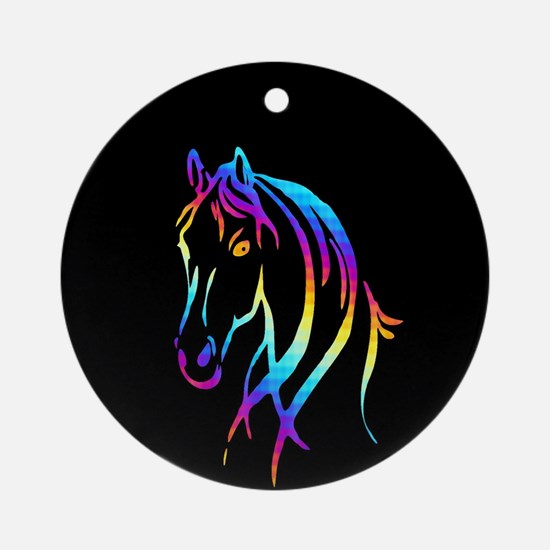 Colorful Horse Round Ornament