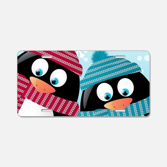 Christmas Penguins Aluminum License Plate