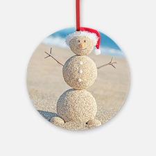 Beach Snowman Round Ornament