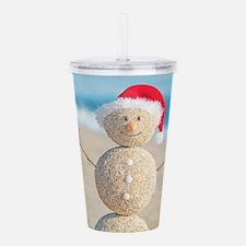 Beach Snowman Acrylic Double-wall Tumbler