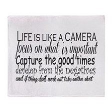 life is like a camera Throw Blanket