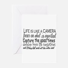 life is like a camera Greeting Cards