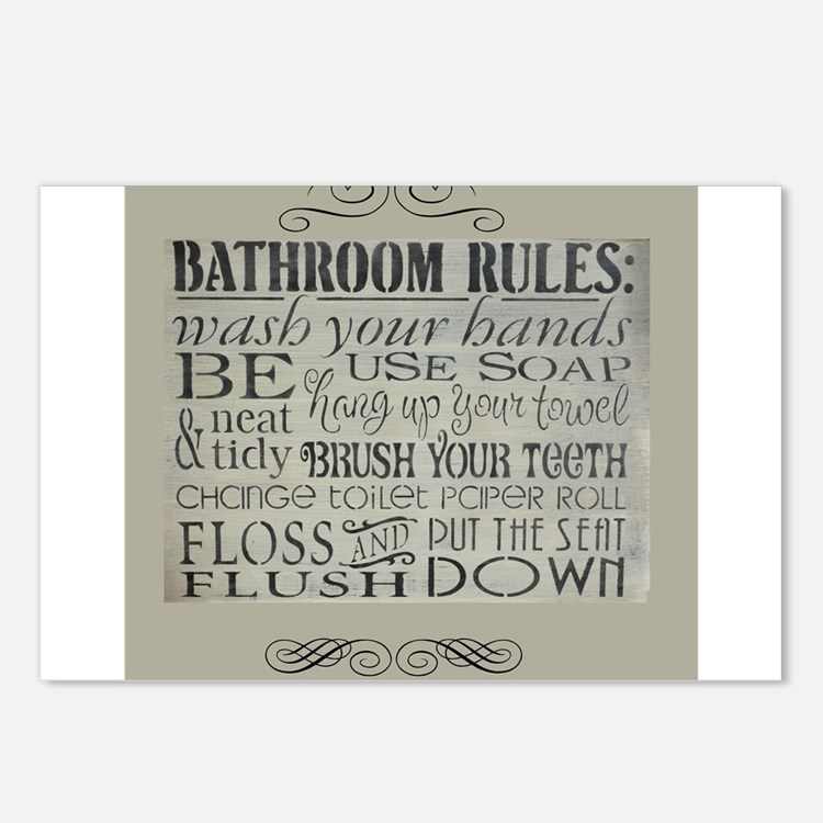 bathroom rules Postcards (Package of 8)