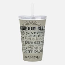 bathroom rules Acrylic Double-wall Tumbler
