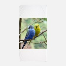 Cute Blue bird portrait Beach Towel