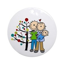 New Parents With Baby Boy Christmas Round Ornament